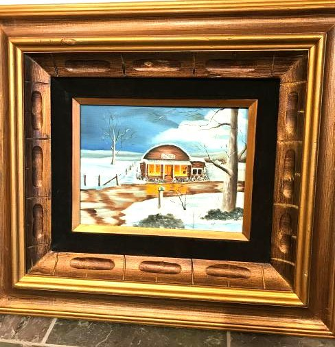 Oil on Canvas Painting of Diner in the Winter, Signed