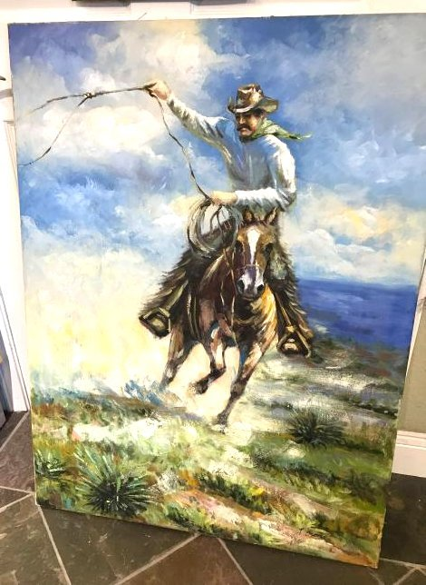 Oil on Canvas Painting of a Cowboy on Horse, Signed