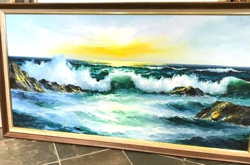 Oil on Canvas Painting of Sunny Ocean Scene, Framed