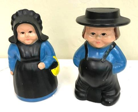 Pair of Cast Iron Banks of Amish Couple