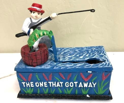 """The One That Got Away"" Cast Iron Mechanical Bank"