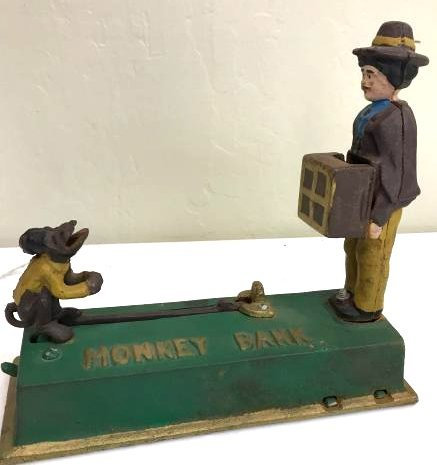 Vintage Cast Iron Mechanical Bank of Jumping Monkey