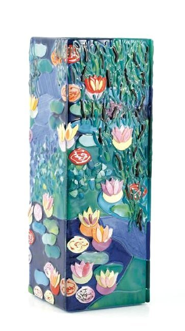 Mosaic Glass Vase with Monet's Art w/ Lily Pads