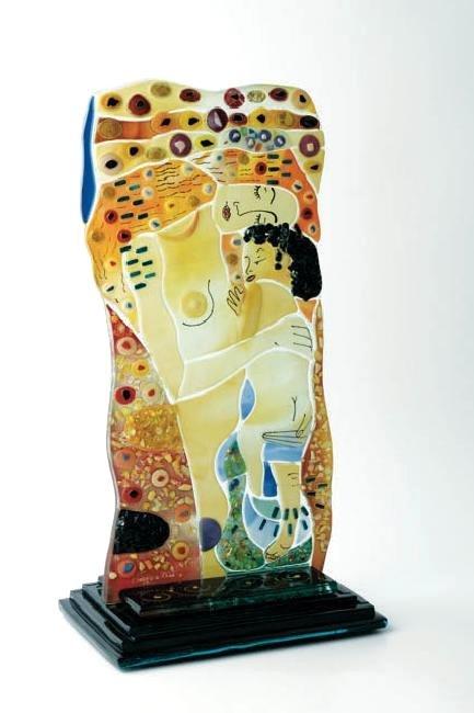 Mosaic Glass Statue of Gustav Klimt's Mother w/ Child