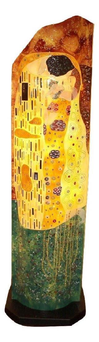 "Large Mosaic Glass Lamp w/ Gustav Klimt's ""The Kiss"""