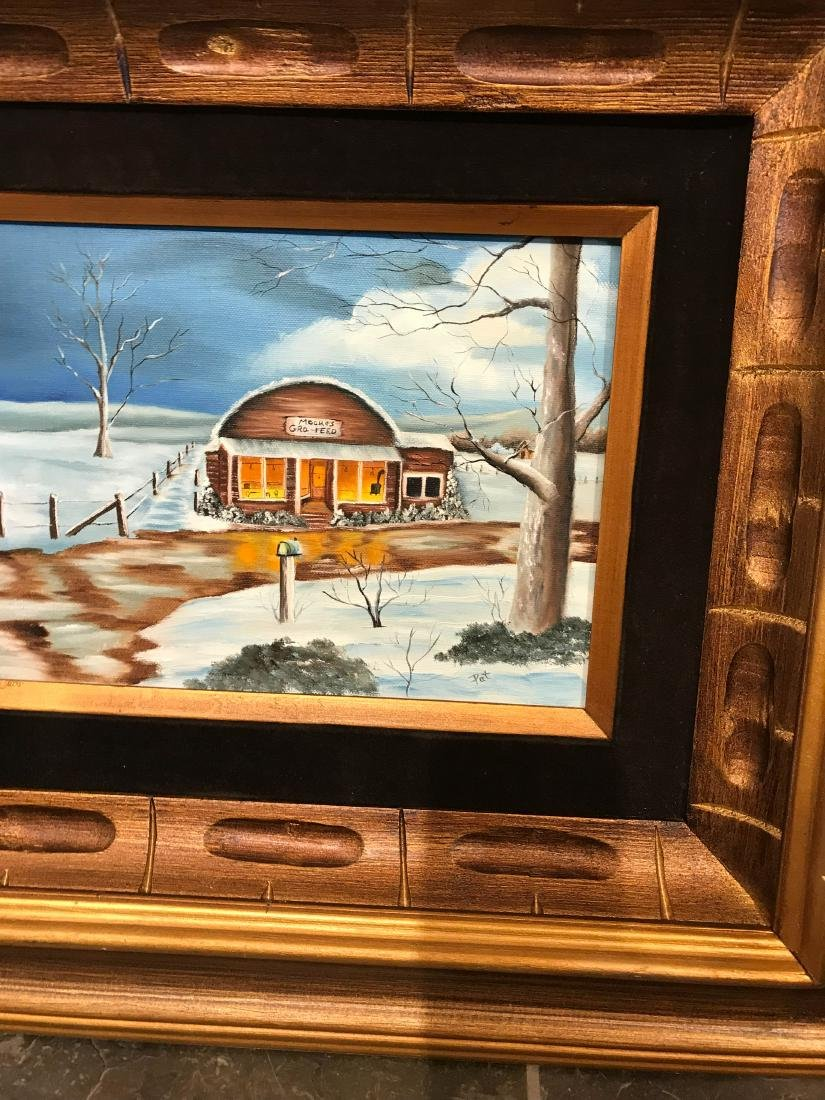 Oil on Canvas Painting of Diner in the Winter, Signed - 2