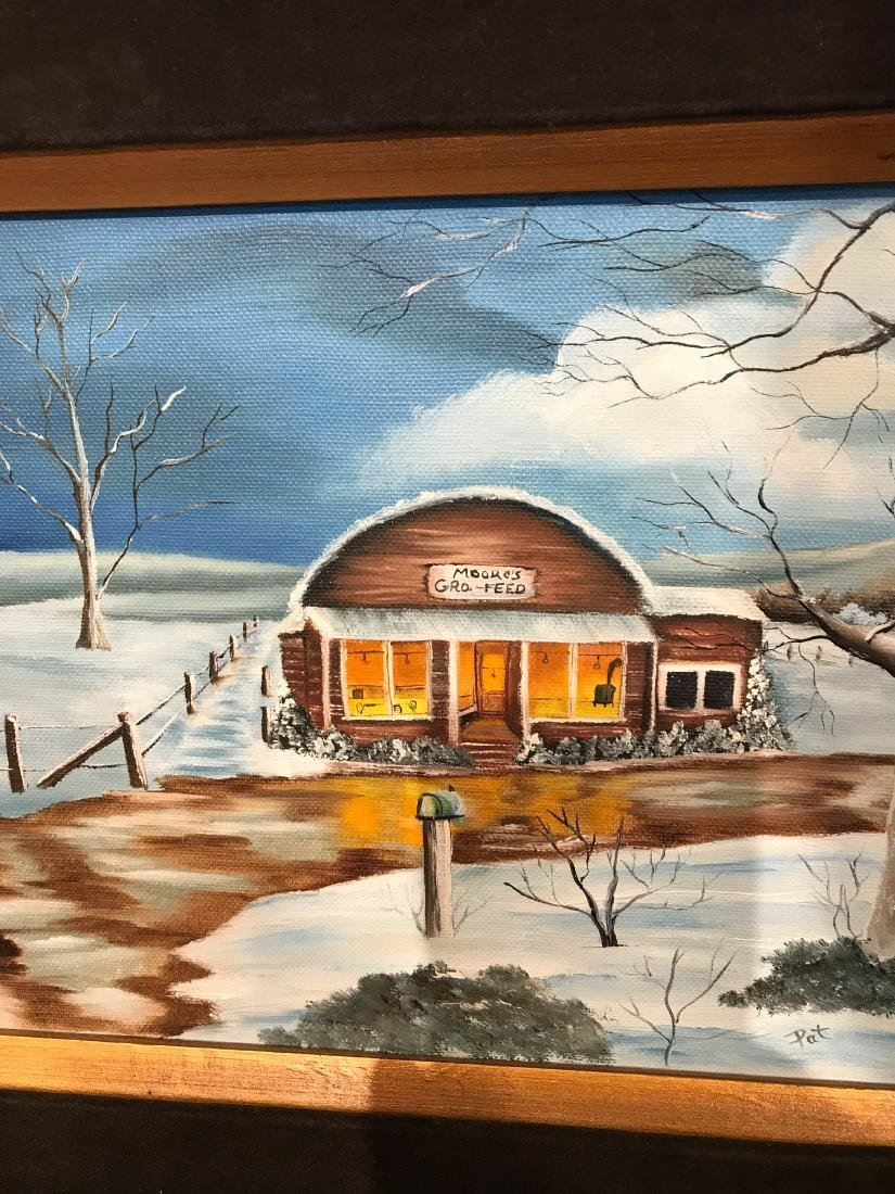 Oil on Canvas Painting of Diner in the Winter, Signed - 8