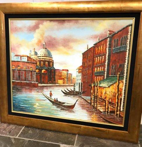 Oil on Canvas Painting of an Italian Venetian Scene