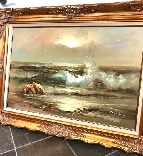 Oil on Canvas Painting of Ocean Scene by Claude Terray