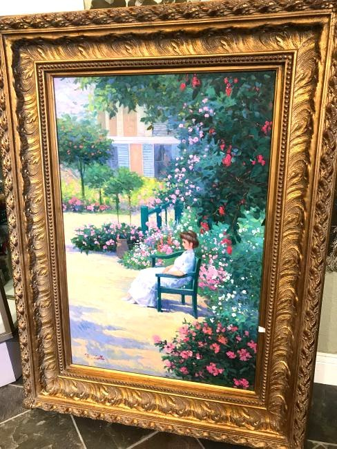 Oil on Canvas Painting of a Woman in a Garden, Signed