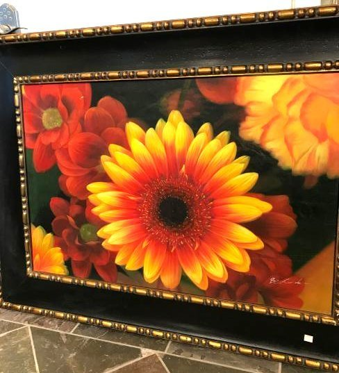 Oil on Canvas Painting of Scene of Flowers, Signed