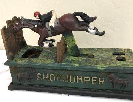 """""""Show Jumper"""" Horse Cast Iron Mechanical Bank"""