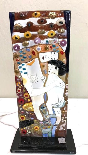 Mosaic Glass Mother and Child Italian Vase