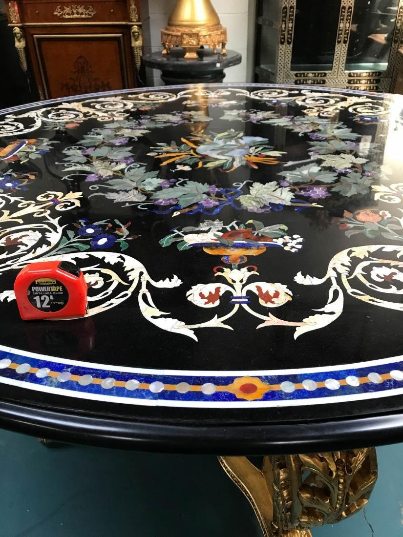Round Pietra Dura Mosaic Table, Signed - 10