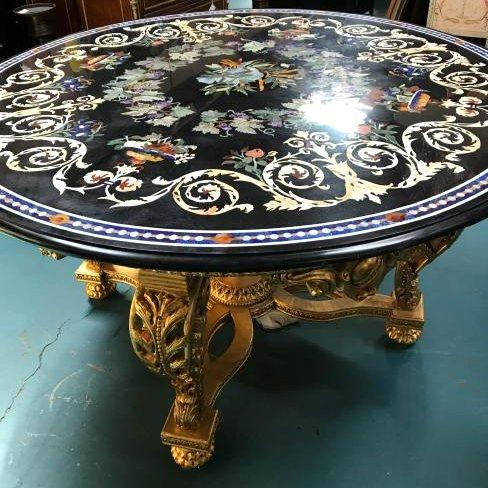 Round Pietra Dura Mosaic Table, Signed