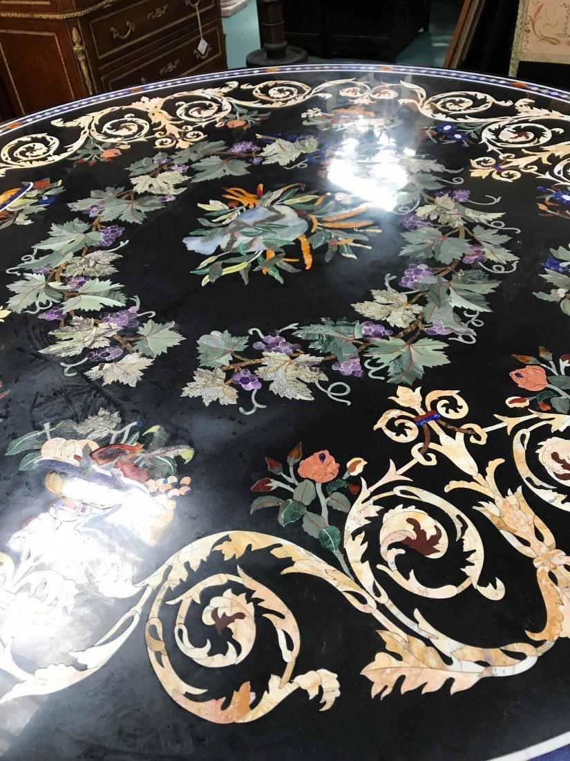 Round Pietra Dura Mosaic Table, Signed - 2