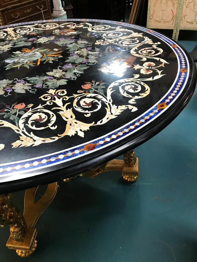 Round Pietra Dura Mosaic Table, Signed - 3