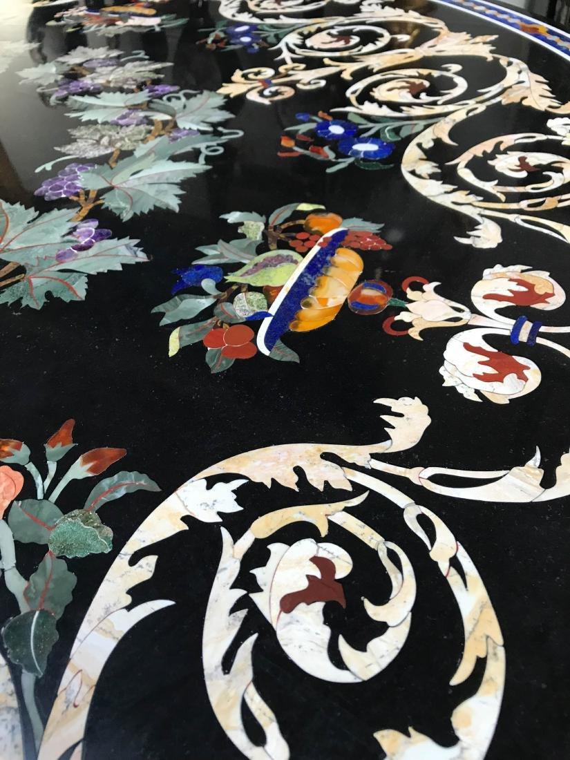 Round Pietra Dura Mosaic Table, Signed - 8