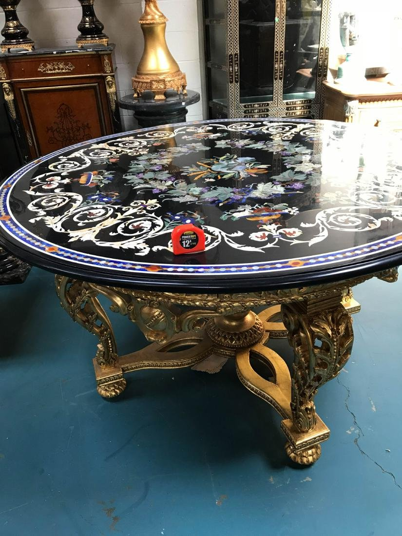 Round Pietra Dura Mosaic Table, Signed - 9