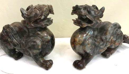 Pair of Mythological Dragon Jade Statues