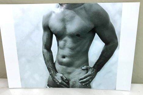 Erotic Photograph of a Nude Man, Framed