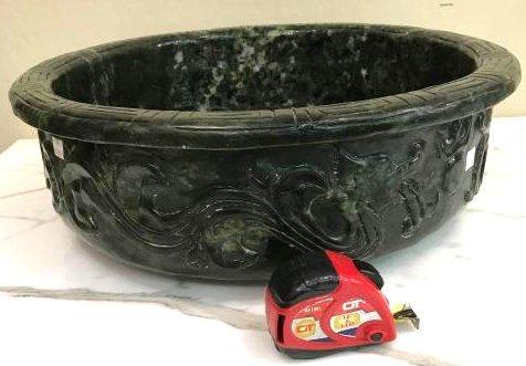 Jade Fish Bowl w/ Detailed Carving Throughout