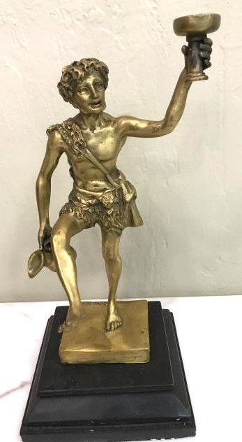 Bronze Statue of Mythological Man Holding Cup