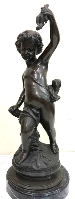Bronze Statue of Boy Holding a Bird on Marble Base