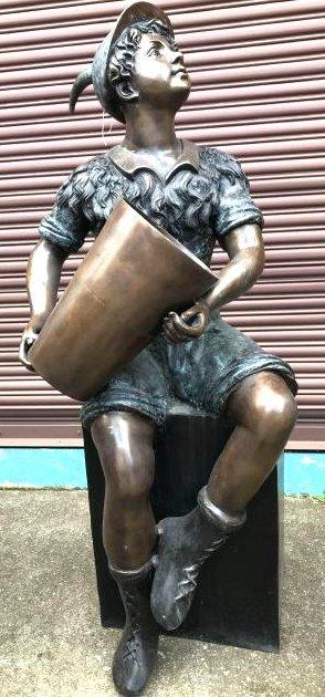 Bronze Fountain of Boy Holding Bucket