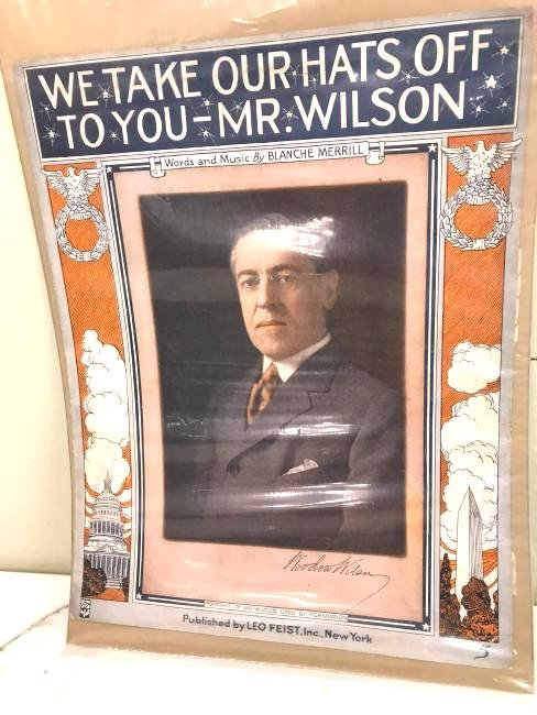 """Vintage Election Poster """"We Take Our Hats...Mr. Wilson"""""""