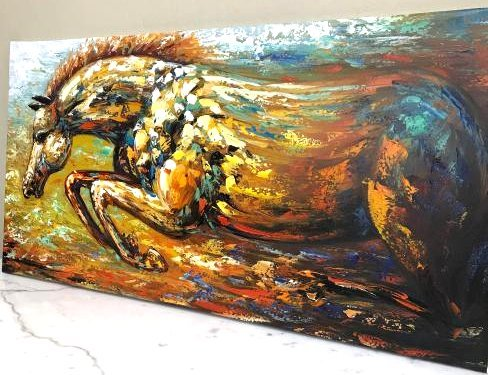 Abstract Oil on Canvas Painting of a Running Horse