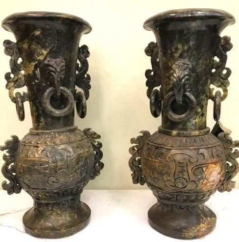 Pair of Carved Jade Vases with Exceptional Details