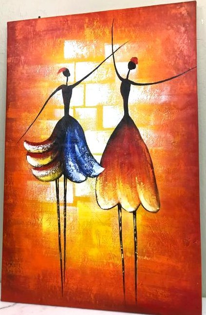 Abstract Oil on Canvas Painting of Two Dancers