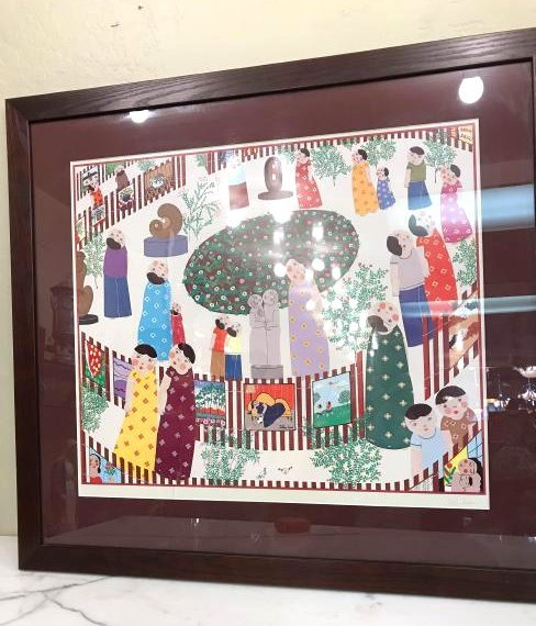 Scene of People Print Signed by John Lim, Framed