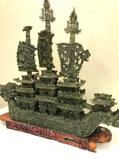 Carved Jade Imperial Boat on Carved Wood Stand