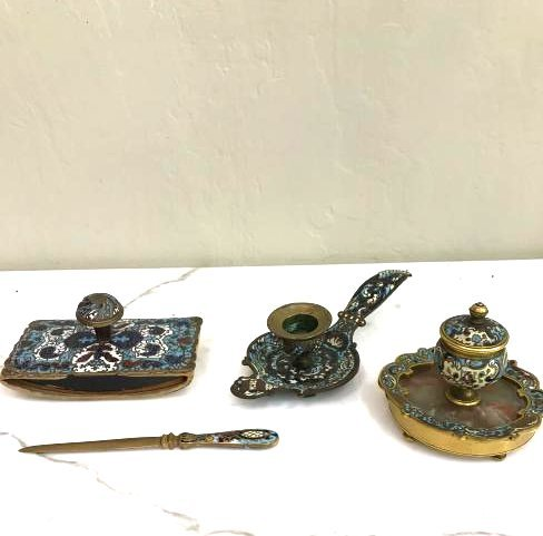 French Champleve 19th C. Four-Piece Writing Set
