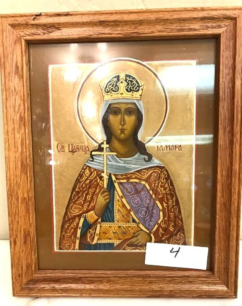 Old Russian Religious Figure on Panel, Framed