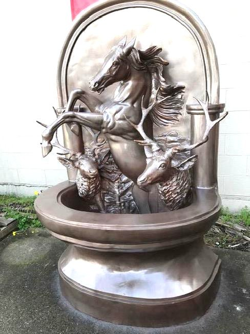 Unique Bronze Fountain with Horse and Two Bucks