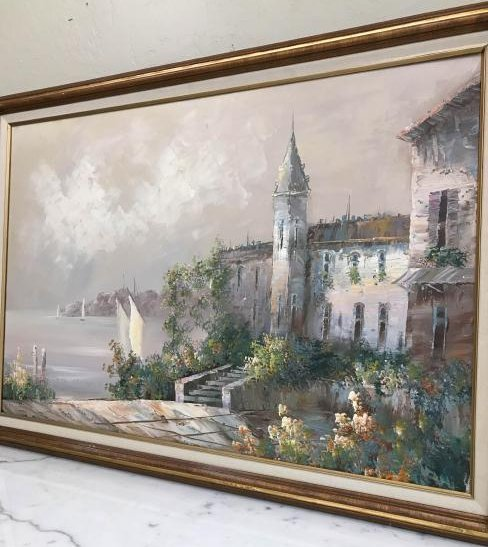 Oil on Canvas Painting of European Scene w/ Sailboat