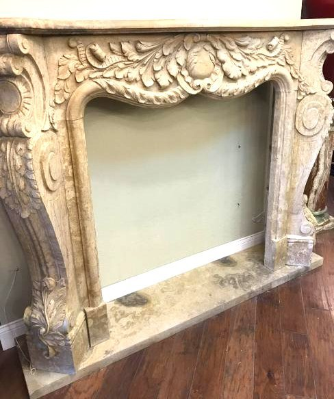 Spectacular Marble Hand-Carved Fireplace