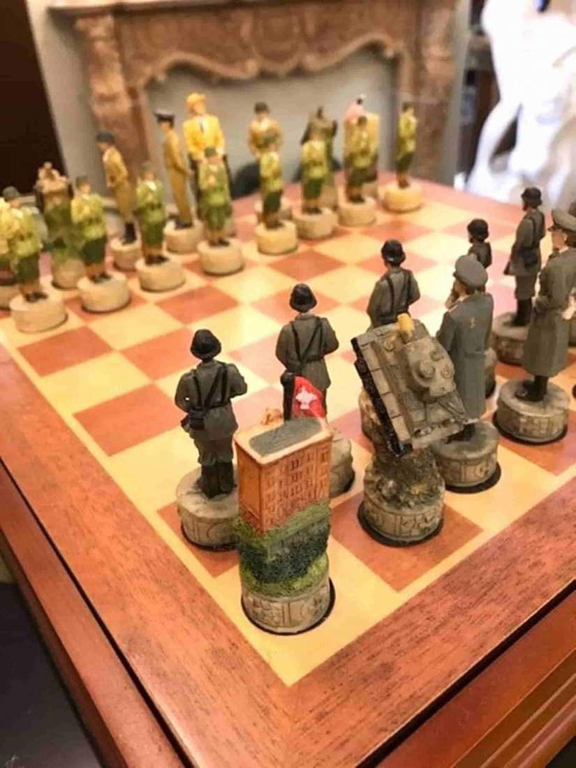 WWII Chess Set with Burl Wood Box