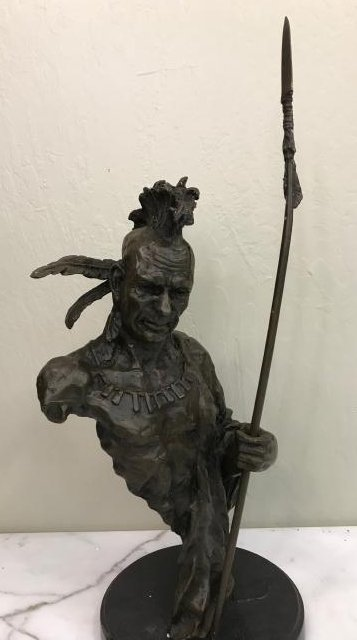 Bronze Native American Chief w/ Spear, Signed