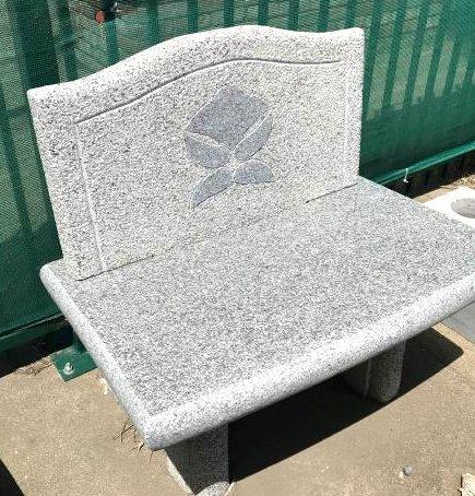 Hand-Carved Granite Bench, Modern Style