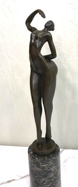 Abstract Bronze Statue of Nude Woman, Signed