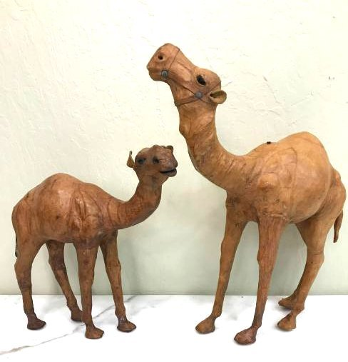 Unique and Unusual Pair of Leather Camels