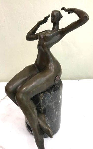 Bronze Statue of Nude Woman Sitting, Signed