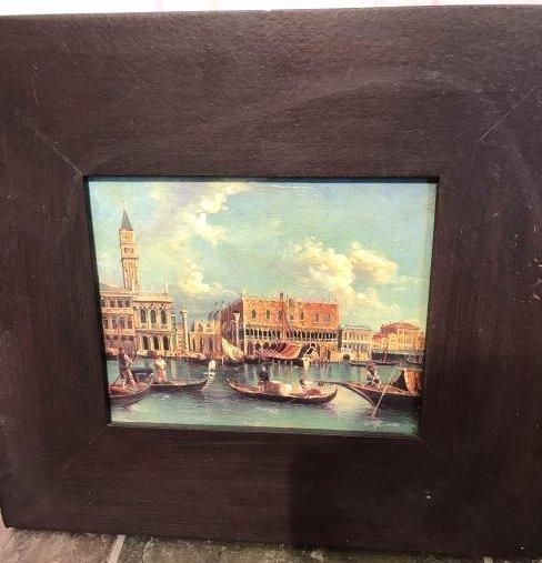 Oil on Panel Venetian Scene, Signed, Framed