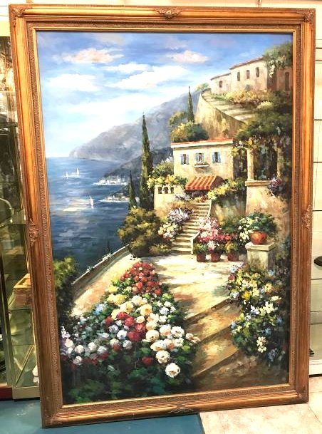 Oil on Canvas Painting of Lake Como, Italy, Signed