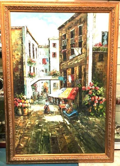 Oil on Canvas Painting of Italian Street Scene, Signed