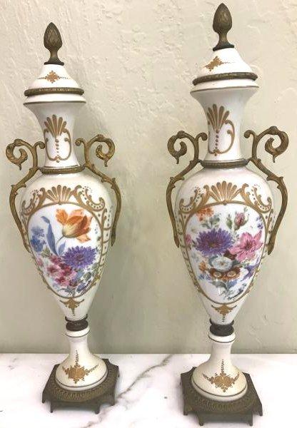 Pair of Porcelain 19th C. Sevres Vases w/ Signature